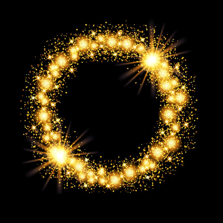gold stars: Gold glow glitter circle frame with stars on black background. Vector illustration.