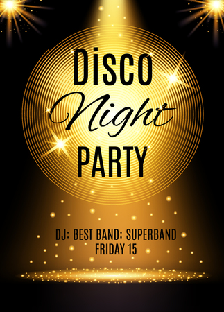 Disco party poster template with shining element.