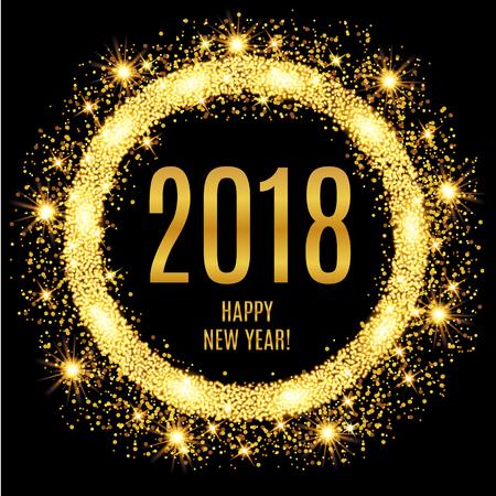 2018 幸せな新年輝くゴールドの背景。ベクトル図  イラスト・ベクター素材