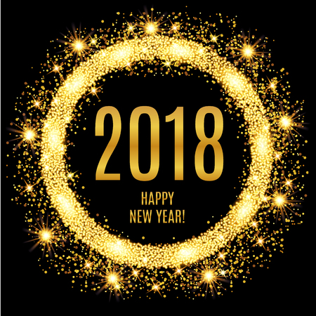 2018 Happy New Year glowing gold background. Vector illustration Çizim