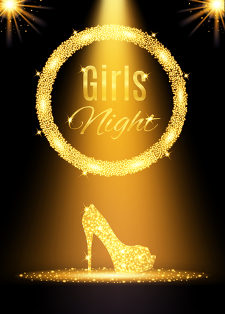 Gold girls night out party poster. Vector illustration Ilustracja