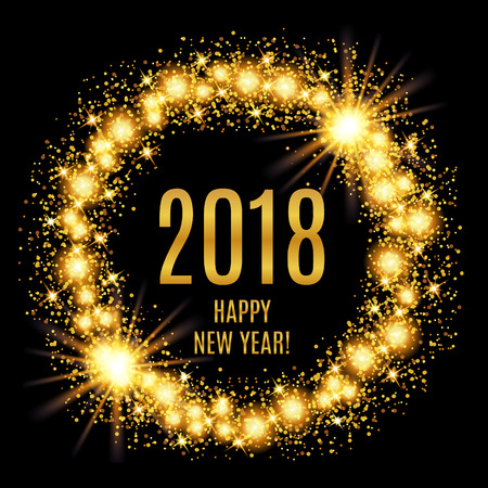 2018 Happy New Year glowing gold background. Vector illustration Vettoriali