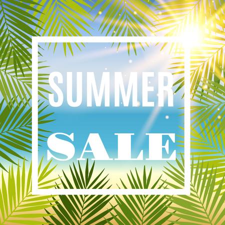 Zomer te koop achtergrond met palm en zon. vector illustratie Stock Illustratie