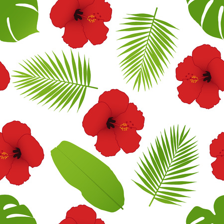 dry flowers: Red hibiscus and palm leaves seamless pattern. Vector illustration.