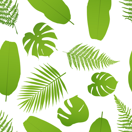 Tropicla seamless pattern with palm and fern. Vector illustration