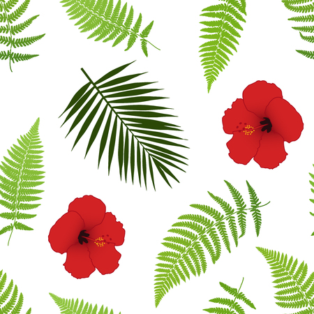beach party: Red hibiscus and palm leaves seamless pattern. Vector illustration.