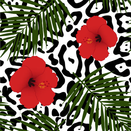 ounce: Red hibiscus and palm leaves pattern Vector illustration.