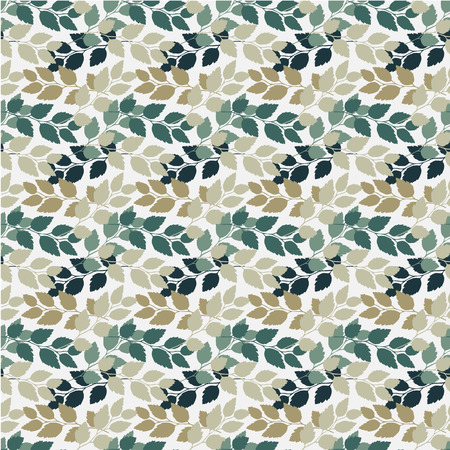 Twigs with leaves seamless pattern. Turkuoise and beige. Vector illustration. Illustration