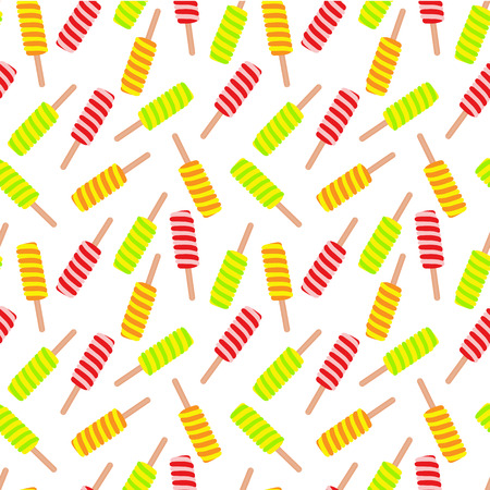 Colorful Ice cream, ice drop design on a  seamless pattern. Vector illustration.