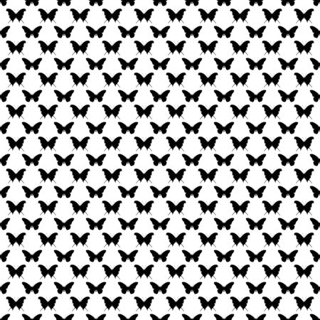 textile image: Black and white seamless butterfly pattern
