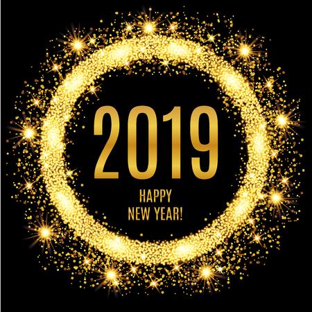 2019 Gelukkig Nieuwjaar gloeiende gouden achtergrond. Vector illustratie Stock Illustratie