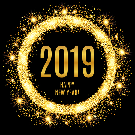 2019 Happy New Year glowing gold background. Vector illustration Çizim