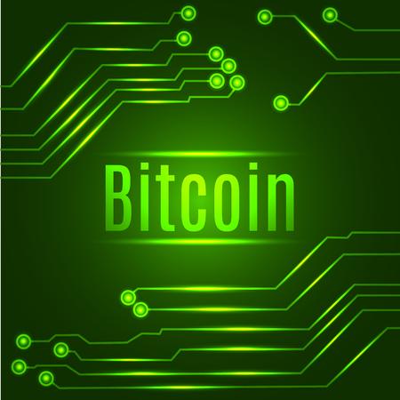 Concepto digital de la moneda del bitcoin verde en placa de circuito. Ilustracion vectorial Foto de archivo - 94435344