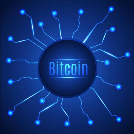 Bandera de círculo de moneda digital de bitcoin azul. Ilustracion vectorial Foto de archivo - 94590920