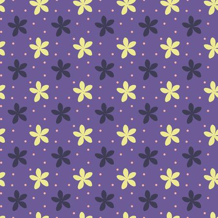 Ultra violeta de patrones sin fisuras con flores y puntos. Ilustración vectorial Foto de archivo - 94590923