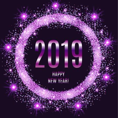 2019 feliz año nuevo brillante fondo violeta. Ilustración vectorial Foto de archivo - 94815730
