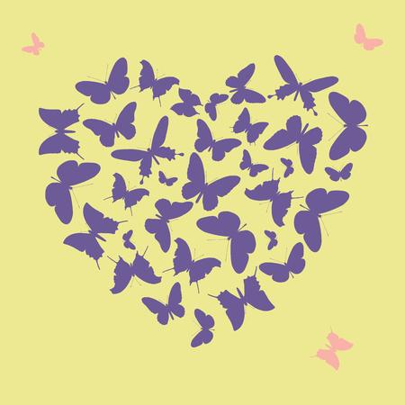 Forma de coração ultra violeta feita de silhuetas de borboleta. Ilustração vetorial Foto de archivo - 94815766