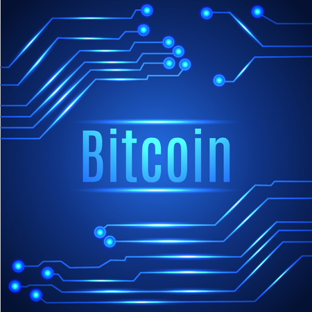 Blue bitcoin digital currency concept on circuit board. Vector illustration. Foto de archivo - 95585222