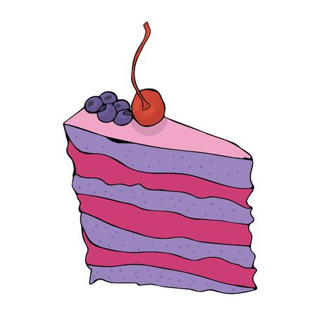 Piece of hand drawn blueberry cake with cherry. Vector illustration. Foto de archivo - 95920085