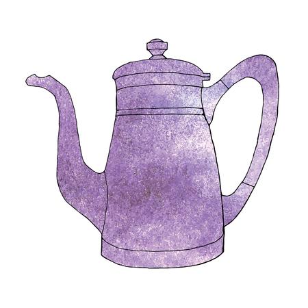 Ultra violet watercolor hand drawn coffeeapot.Vector illustration. Foto de archivo - 96211519