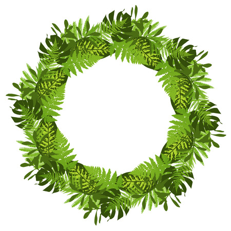 Green circle frame with tropical leaves. Vector illustration Foto de archivo - 96453212