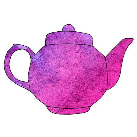 Watercolor hand drawn teapot. Vector illustration Ilustração