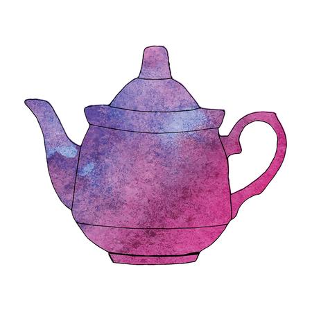 Watercolor hand drawn teapot. Vector illustration Foto de archivo - 96805396