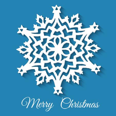 Copo de nieve de papel de navidad sobre fondo azul. ilustración vectorial Foto de archivo - 97113907
