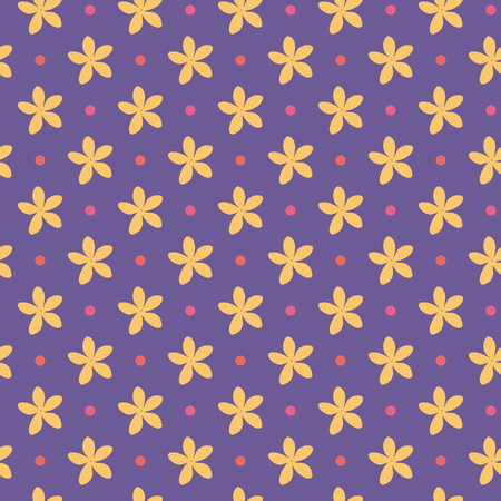 Ultra violet seamless pattern with flowers and dots. Vector illustration Foto de archivo - 97209993