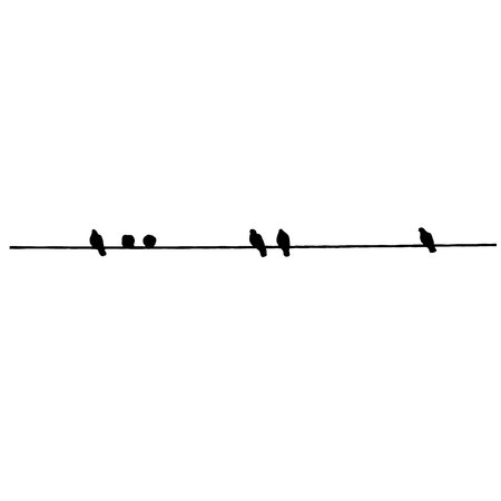 Pigeon silhouettes on the wire. Vector illustration Foto de archivo - 97292885