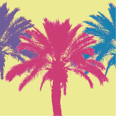Tropical palm tree silhouettes. Vector illustration