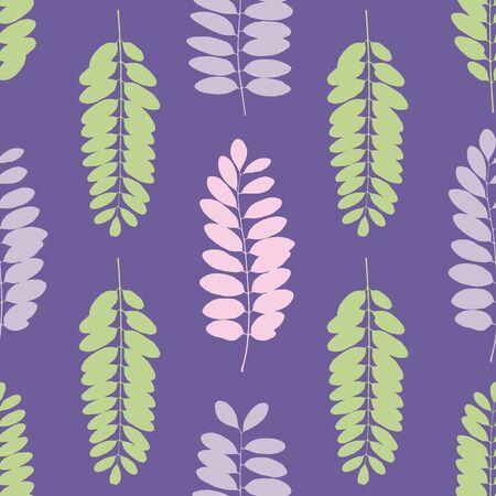 Tree leaf silhouettes seamless pattern. Vector illustration Foto de archivo - 98483444