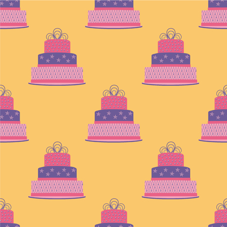 Birthday cake seamless pattern. Vector illustration. Foto de archivo - 97726314