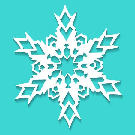 Christmas paper snowflake on blue background. Vector illustration Foto de archivo - 98715389