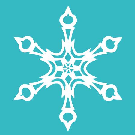 Christmas paper snowflake on blue background. Vector illustration Foto de archivo - 98848400