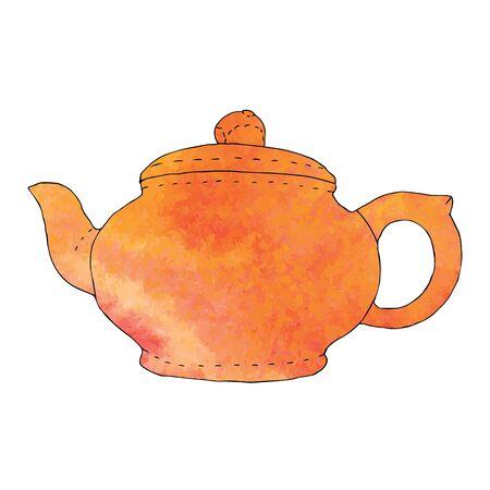 Watercolor hand drawn teapot. Vector illustration Foto de archivo - 99207530