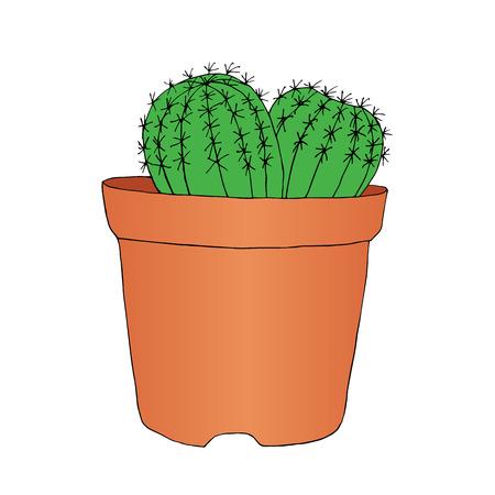 Ink style hand drawn sketch cactus in pot. Vector illustration Foto de archivo - 99715617