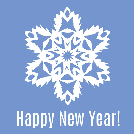 Happy New Year paper snowflake on blue background. Vector illustration Foto de archivo - 100992781