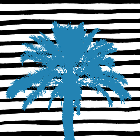 Blue palm tree and hand drawn black and white stripes. Vector illustration. Foto de archivo - 110481170