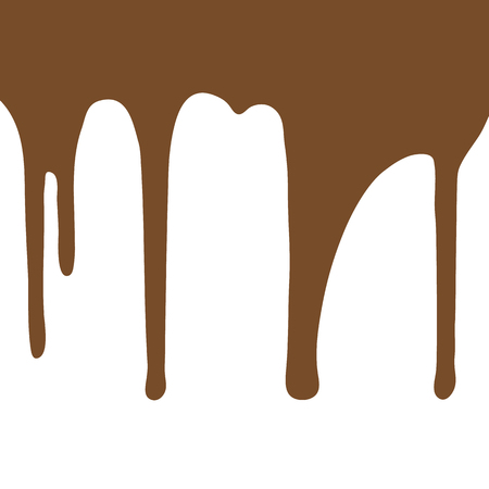 Melting chocolate dripping on white background. Vector illustration. Foto de archivo - 127461283