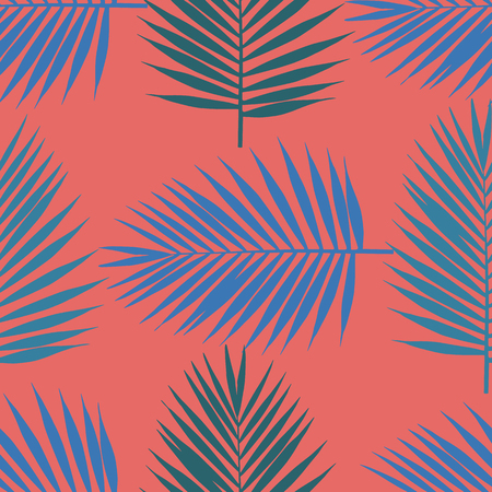Living coral tropical palm leaves seamless pattern. Vector illustration. Foto de archivo - 126758164