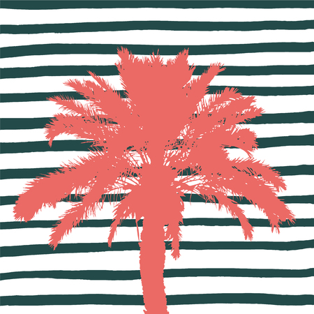 Living coral palm tree and hand drawn stripes. Vector illustration. Foto de archivo - 126731072
