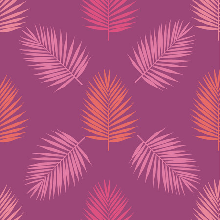 Living coral and purple tropical palm leaves seamless pattern. Vector illustration. Foto de archivo - 126731073