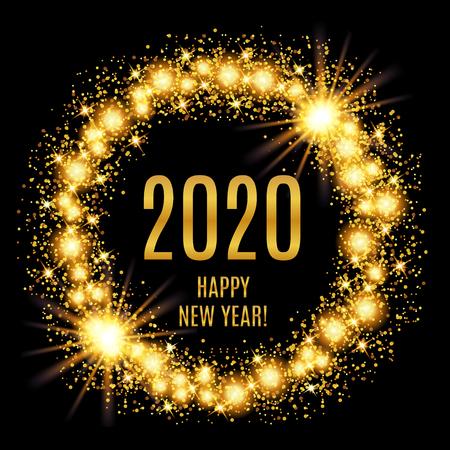 2020 Happy New Year glowing gold background. Vector illustration Foto de archivo - 126375651