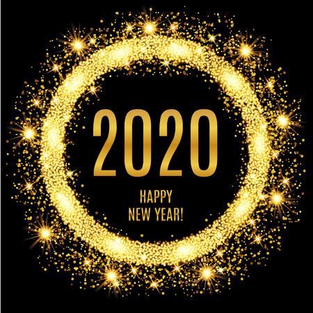 2020 Happy New Year glowing gold background. Vector illustration Foto de archivo - 114913867