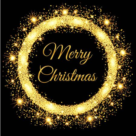 Buon Natale incandescente sfondo oro. Illustrazione vettoriale Vettoriali