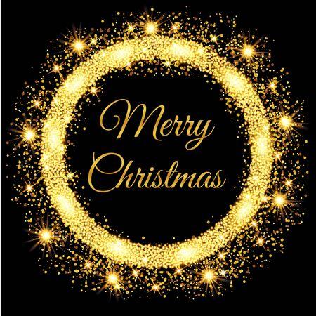 Merry Christmas glowing gold background. Vector illustration Vektorové ilustrace