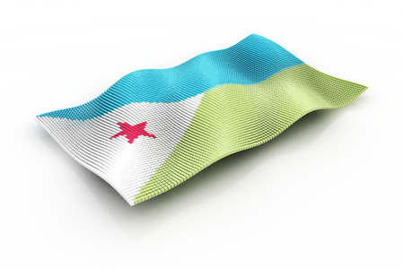 djibouti: the Djibouti flag consisting of cubes Stock Photo