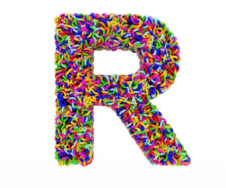 composed: letter R composed of multi-colored rings