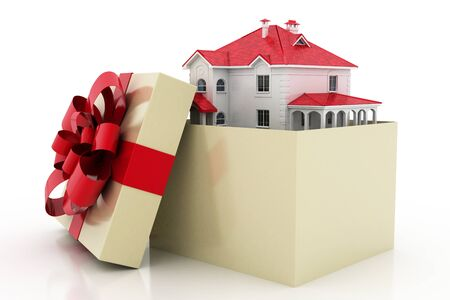 The house is in a gift box. Ribbon and bow on the box. 3D.